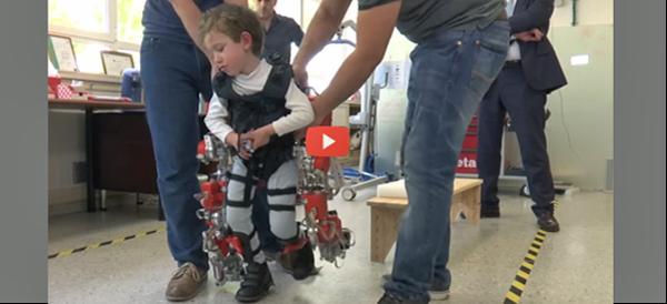Kid-sized exoskeleton with video 600x274