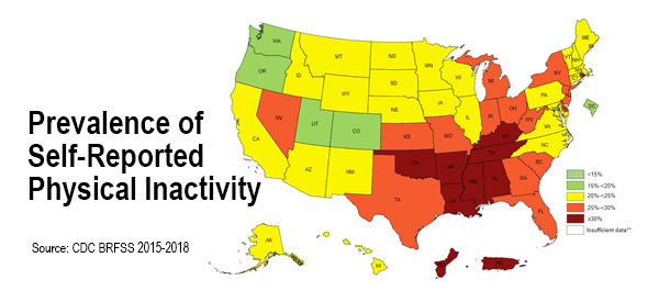 CDC Maps Couch Potatoes by State